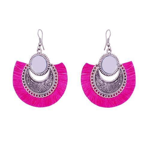 Satyamani Women's Oxidized Earring with Mirror & Pink Thread Party Wear