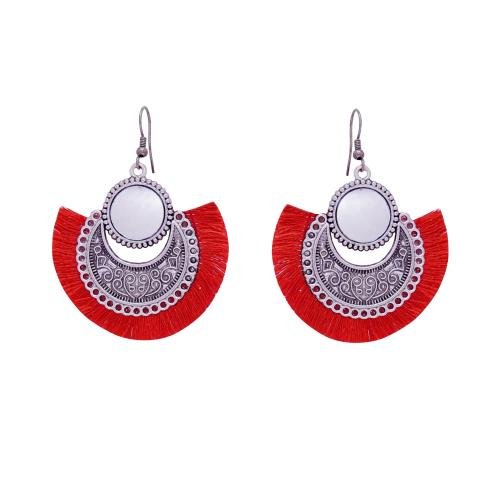 Satyamani Women's Oxidized Earring with Mirror & Red Thread Party Wear