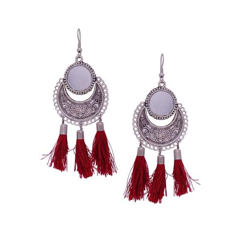 Satyamani Women\'s Oxidized Metallic Earring Set with Maroon thread