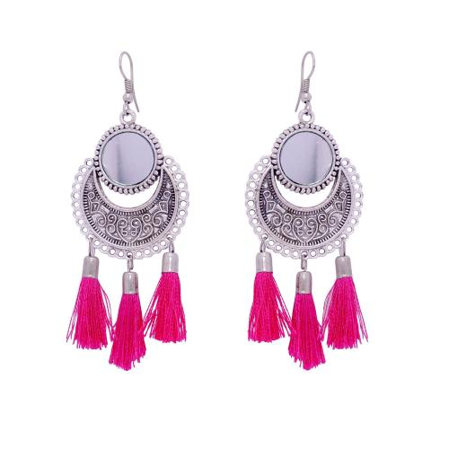 Satyamani Women\'s Oxidized Metallic Earring Set with Pink thread